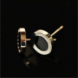 Fashion Black  White Shell Small Titanium Stainless Steel Stud Earrings,Yellow Gold Rose gold Silver Metal Colors Women Men Jewelry