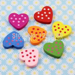 100pcs lot Wholesale Colorful Lead-free Heart Wood Beads for Bracelet Necklace 22x21mm (K00315)
