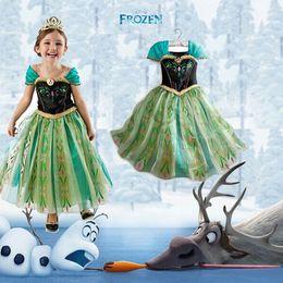 Wholesale 2016 summer Frozen dress kids party dress Animated cartoon dress baby girls long sleeved frozen elsa dress A008