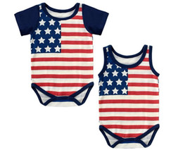 Wholesale-4th of July flag onesie for newborn baby boy and girl, stipres and stars baby body cotton fabric