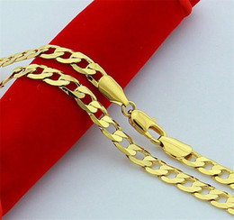"*Heavy 14K Yellow Gold Filled Mens Huge Necklace Figaro Link Chain 24"" 6mm Fine"