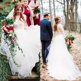 Wholesale Lace Wedding Dress Princess Cut - Hayley Paige 2017 Beach Wedding Dresses Illusion Long Sleeves A Line Sheer Neckline Cut Out Back Tiered Bohemian Country Bridal Gowns Cheap