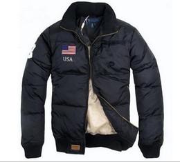 Wholesale 2016 Top Stand Collar Warm US Flag Famous Pony Down jacket Fashion Appliques Zipper Outerwear more color sports cotton Horse Parkas coats