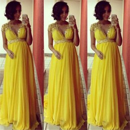 2016 Custom made Elegant A line Evening Dresses for Pregnant Women Cap Sleeve Yellow Chiffon Sparkling Beaded Crystal Long Prom Dresses
