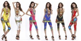 2017 New African fashion design 6 Color Women Sexy Traditional Print Dashiki National 2 piece set T-shirt tank+ calf-length pants tracksuits