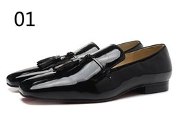 Rouges à semelles chaussures habillées en Ligne-Chaussures rouge Sole chaussures hommes de la mode en cuir verni chaussures habillées d'affaires, les hommes de marque de concepteur a cloué mocassins chaussures de mariage oxfords fond rouge