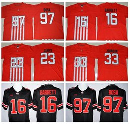 Wholesale 2016 Ohio State Buckeyes Red J T Barrett Football Jerseys Lebron James Joey Bosa College Jersey Pete Johnson Embroider Logos