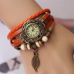 shipping New Vintage Quartz Women Dress Watchs Wrap Tree leaf Pendant Synthetic Leather Bracelet Wrist Watch