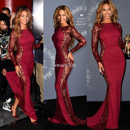 Wholesale Beyonce Video Music Awards Celebrity Dresses With Long Sleeve Crew Sweep Train Red Carpet Beading Evening Gowns Backless Formal Dress