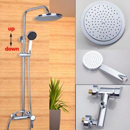 Wholesale Polished Chrome quot Round Rainfall Shower Faucet Bath Tub Mixer Tap Hand Shower Kit Set