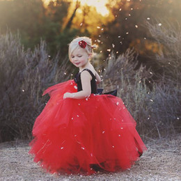 2016 Red Flower Girl Dresses Lovely Spaghetti Flower Appliques Tutu Long Ball Gowns Black And Red Little Girl Wedding Party Dresses