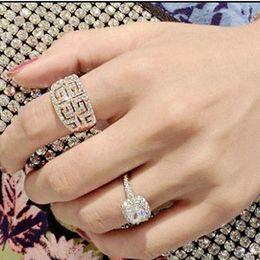 1pc Korean Fashion Joker Crystal Joint Silver Gold Finger Rings Full Diamond Vintage Rings All-Purpose Style Women Girls Lady Jewelry