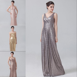 Bling Rose Gold V Neck Sequined Maid of Honor Dresses Plus Size Long Beach Bridesmaid Bridal Party Evening Gowns 2016 Custom cheap