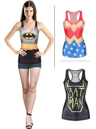 Wholesale Batman Camisoles Wonder Women Tanks Shirts Running Singlet Black Vest Casual Camisole Gym Sports Tank Tops Digital Print Sleeveless