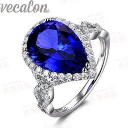 Wholesale Vecalon Fashion ring Pearl cut ct Tanzanite Cz Diamond ring KT White Gold Filled Women Engagement Wedding Band ring