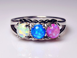 Wholesale & Retail Fashion White & Blue & Pink Fire Opal Rings 925 Silver Plated Jewelry For Women RJL1528001