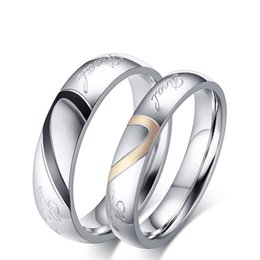 Fashion Jewelry 316L Stainless Steel Silver Half Heart Simple Circle Real Love Couple Ring Wedding Rings Engagement Rings