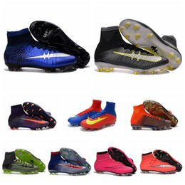 Wholesale 2017 New Mercurial x EA SPORTS original soccer cleats mercurial superfly cr7 blue soccer shoes boots gold football boots mens best quality