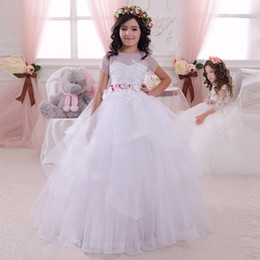 Lace Tulle white Flower Girls Dresses Short Sleeve Capped Sleeve Tulle Floor Length Fuchsia Ribbon Puffty Communion Dresses For Girls 2016