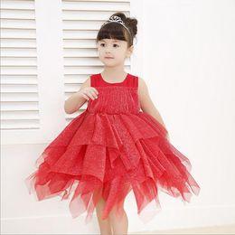 Girls Princess Dress 2016 Summer Lace Tutu Cake Dress Korean Fashion Bling Bow Irregular Party Dress for Kids Clothing MK-295