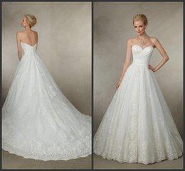 Wholesale Satin Wedding Dresses Victoria Jane Sweetheart Neckline Lace Appliques Chapel Train A Line Bridal Gowns Covered Button Joy