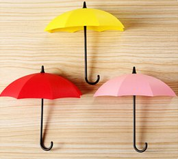 3 Pcs Pack Colorful Umbrella Wall Hook KEY Coin Hair Pin Holder Decorative Wall Mounted Storage Rack for Bathroom Kitchen Hallway