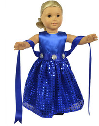 Wholesale 2016 Latest American Girl Doll Clothes Beautiful Blue Doll Dress for Inch American Girl Doll Brinquedo Toy High Quality