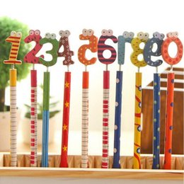 20pcs lot Writing Painting Standard Pencils With Spring Wooden Cartoon Number Head Stationery Children Kid Writing Pens Papelaria
