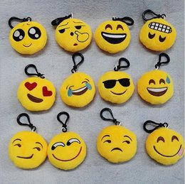 Wholesale 20 Styles emoji plush pendant Key Chains Emoji Smiley Emotion Yellow QQ Expression Stuffed Plush doll toy for Mobile bag pendant