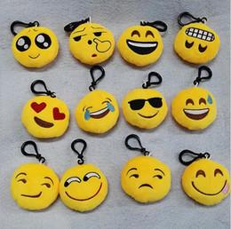 20 Styles emoji plush pendant Key Chains Emoji Smiley Emotion Yellow QQ Expression Stuffed Plush doll toy for Mobile bag pendant