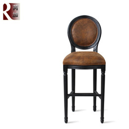 Wholesale The new European classical antique American country round back high chair Vintage Leather Furniture Hotel bar soft bag chairs