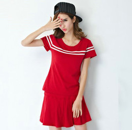 Red tennis sets Beautiful woman sport shirt Nice training short skirt dresses Best fitness wear Quality sportwear