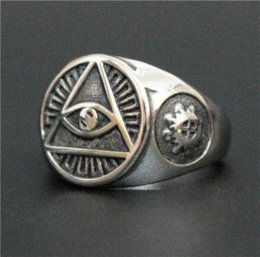 Wholesale Size Cool Eye Lucky Ring L Stainless Steel Top Quality Biker Fantastic Mens All See Eyes Ring