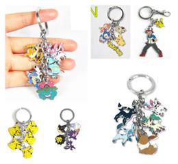 Wholesale Pocket Monster Go Pikachu key Chain Metal Figure Ash Venusaur Flareon Vaporeon Tepig Gengar Jolteon Umbreon Sylveon XY Pendants Keychain