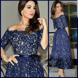 Saudi Arabic Navy Blue Lace Evening Dresses Off the Shoulder Short Sleeves Ankle Length Prom Gowns