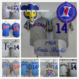 Wholesale Ernie Banks Jersey Cooperstown Chicago Cubs Jerseys Hemp Grey White Cream Blue Pullover