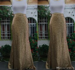 Wholesale 100 Real Picture Gold Sequined Maxi Dresses Mermaid Ruched Floor Length Shining Skirts for Women Street Fashion Charming Girls Skirt A