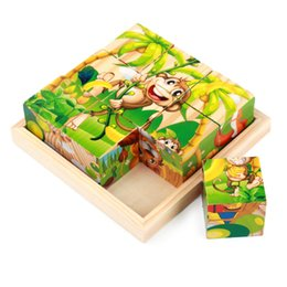 Wholesale 9 set Children s educational toys wooden Puzzle blocks with six pattern pictures
