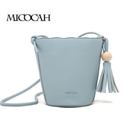 MICOCAH Casual Women Messenger Bag Lining Cotton Round Beads Tassel Totes Bucket Portable String Shoulder PU Solid Soft NCS082