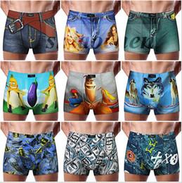 Wholesale Cowboy Sexy Man - Men 3D Jeans Boxers Print Denim Briefs Cartoon Underwear Cotton Cowboy Underpants Sexy Shorts Fashion Trunks Elastic Lingerie Bottom A603 20