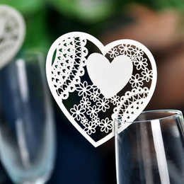 100pcs Laser Cut Love Heart Table Wine Glass Name Place Cards for Wedding Decoration Baby Shower Favor Birthday Garden Event Party Supplies