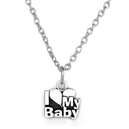 Wholesale New Trend Zinc Alloy Antique Silver Plated Word I Love Baby Pendants Necklaces Good Luck