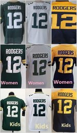Wholesale 12 Aaron Rodgers Green Blue White Football Jerseys Home Away Elite Men Women Youth Kids Stitched Free Drop Shipping