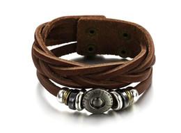Retro bracelets & bangles fashion jewelry weave Shuangkou Bracelet Adjustable Size Rock Style Personalized Bracelet men's Leather Bracelet