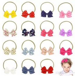15 Colors Baby Bow Headbands Cotton Hairband Girls Polka Dot Grid Headbands Children Floral Hair Accessories Nylon Bowknot Hairbands