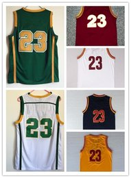 Wholesale High School Jersey Irish Green White All letters Stitched Basketball Jerseys White Yellow Red Lebron Dark Blue