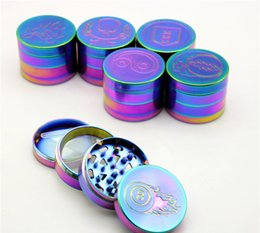Wholesale DIY Beautiful mm Rainbow Grinders With Layers Grinder Zinc Alloy Material Top Tobacco Herb Grinders Smoking Herb Spice Crushers