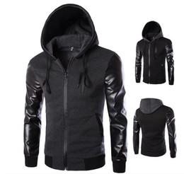 Free shipping Korean men's hooded leather jacket sleeves Korean men hooded jacket Korean version of Slim Jacket