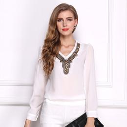 New Fashion Women Blouse Casual V Neck Chiffon Rivet Long Shirt Black White Blusas Femininas Plus Size S-2XL CC2904