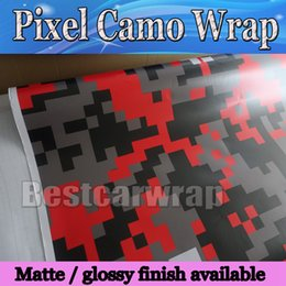 Red black Pixel Camo Vinyl Car Wrap Film With Air Rlease Digital Camouflage Truck wraps covering camo red film styling size 1.52x30m Roll
